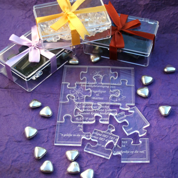 Bridal Favours Personalised Perspex Puzzle Invitation Or Message Click For Larger Photo