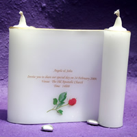 Bridal Favours : Scroll Candle Invitation