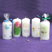 Bridal Favours : Printed Cylindrical Candles
