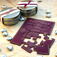 Bridal Favours : Personalised Puzzle Invitation or Message