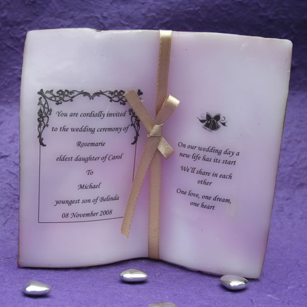 Wedding Invitation Candles: Wedding And Bridal Favours > Book Candle Invitation